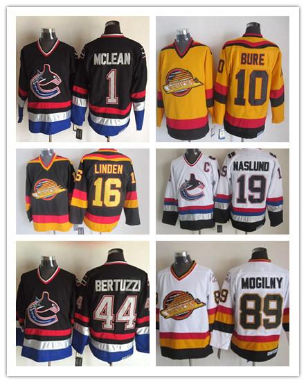 CCM 1 Kirk Mclean 10 Pavel Bure 16 Trevor Linden 89 Alexander Mogilny 19 Markus Naslund 44 Todd Bertuzzi Vintage Hockey Jerseys(China (Mainland))