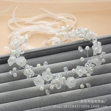 BH37 Beautiful Beaded Pearls Flower Wedding Hair Accessories 2015 Bridal Headpiece Free Shipping(China (Mainland))