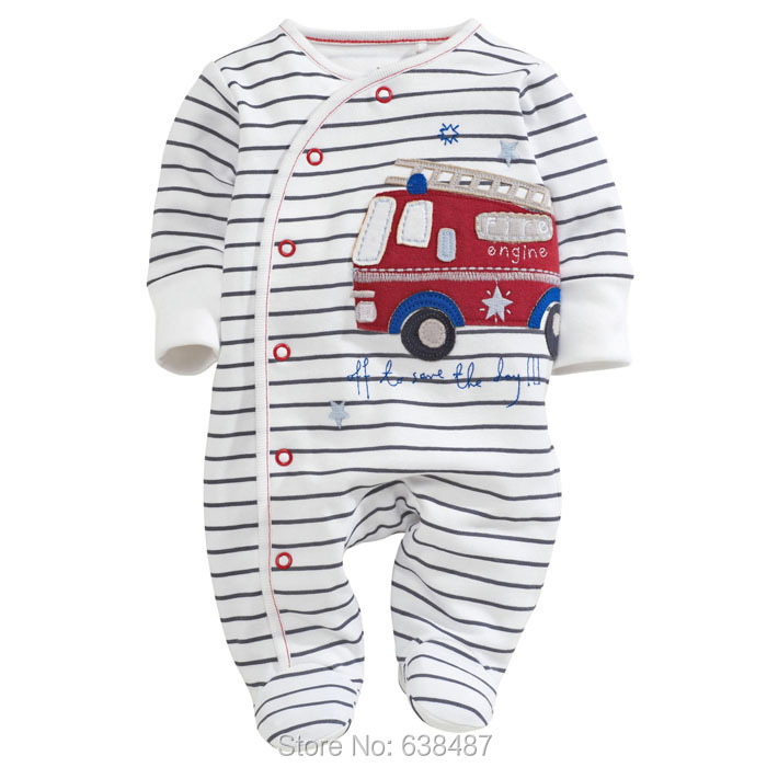 Embroidery Baseball Cotton Long-sleeve Newborn Baby Boys Clothing One-Pieces Rompers Jumpsuits Creepers 6041 - JK Kids Shop store