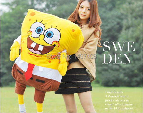 45cm sponge bob spongebob bob esponja plush brinquedos anime doll for children kids juguetes boy girl cheap toy christmas gift(China (Mainland))