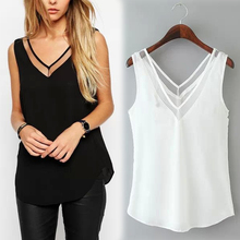 Buy 2017 Summer Women Chiffon Mesh Patchwork Sexy V-Neck Tops Casual Loose Sleeveless Shirts Blusas femininas for $2.54 in AliExpress store