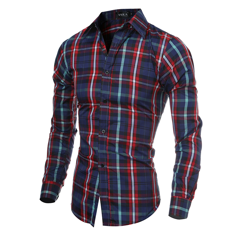 Men Shirts Long Sleeve Casual Red font b Plaid b font Shirt Mens Brand Designer Black