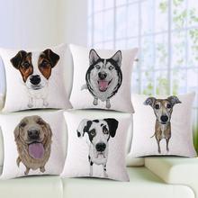 Schnauzer Husky  Cotton Linen Cushion Covers Throw Pillow Cases