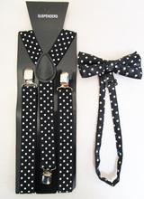Free Shipping 2016 New Fashion Women Black Polka Dot Printed Bow Tie And Braces Sets For Ladies(China (Mainland))