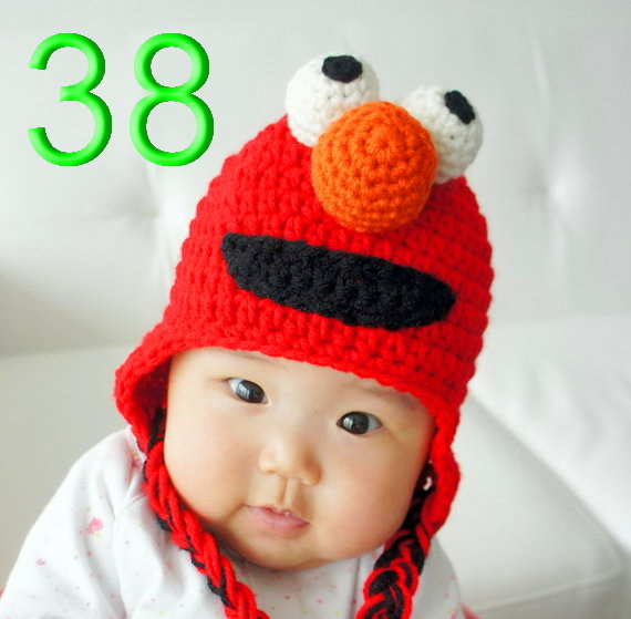 20piece/lot 100% cotton children's Earflaps Hat,Cute Elmo Crochet Hat/ Sesame Street Hat/ Crochet Baby Hat/ Soft/ Photo Prop(China (Mainland))