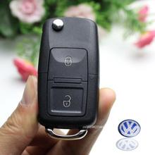 2 Buttons Remote Flip Folding Car Key Shell Replacement for VW Volkswagen MK4 Bora Golf 4 5 6 Passat Polo Bora Touran