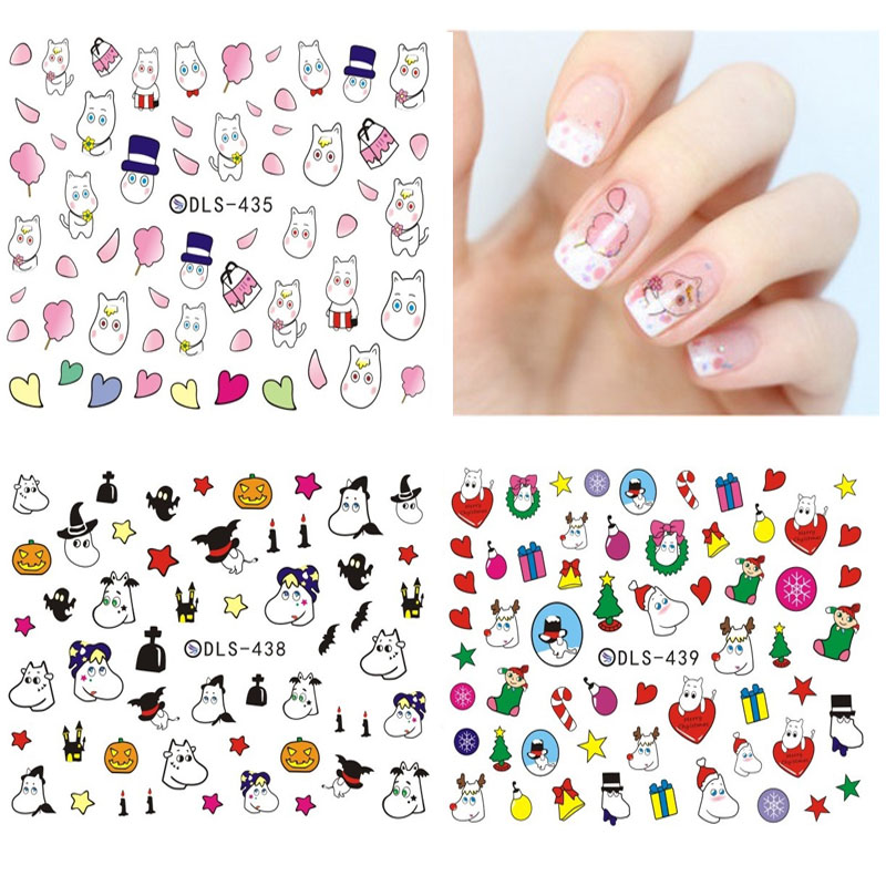 DLS418-439 DIY Small Water Transfer Foils Nail Art Sticker Nails Cartoon Harajuku Christmas Fox Frog Decals Minx Nail Decoration(China (Mainland))