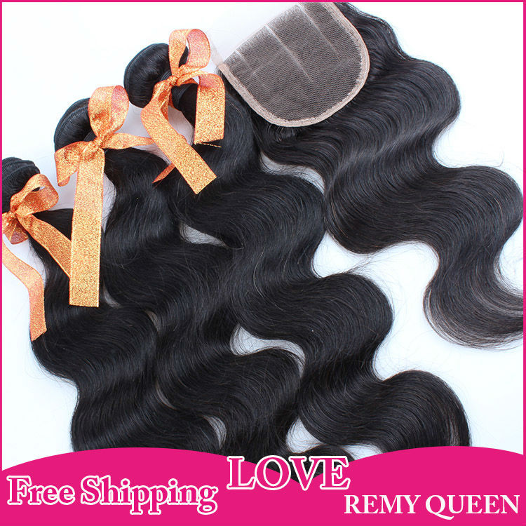 Peruvian Virgin Human Hair Weft with Closure Body Wave 4*4  Top Lace Closure Three Part Natural Color 4pcs/lot  Free Shipping<br><br>Aliexpress