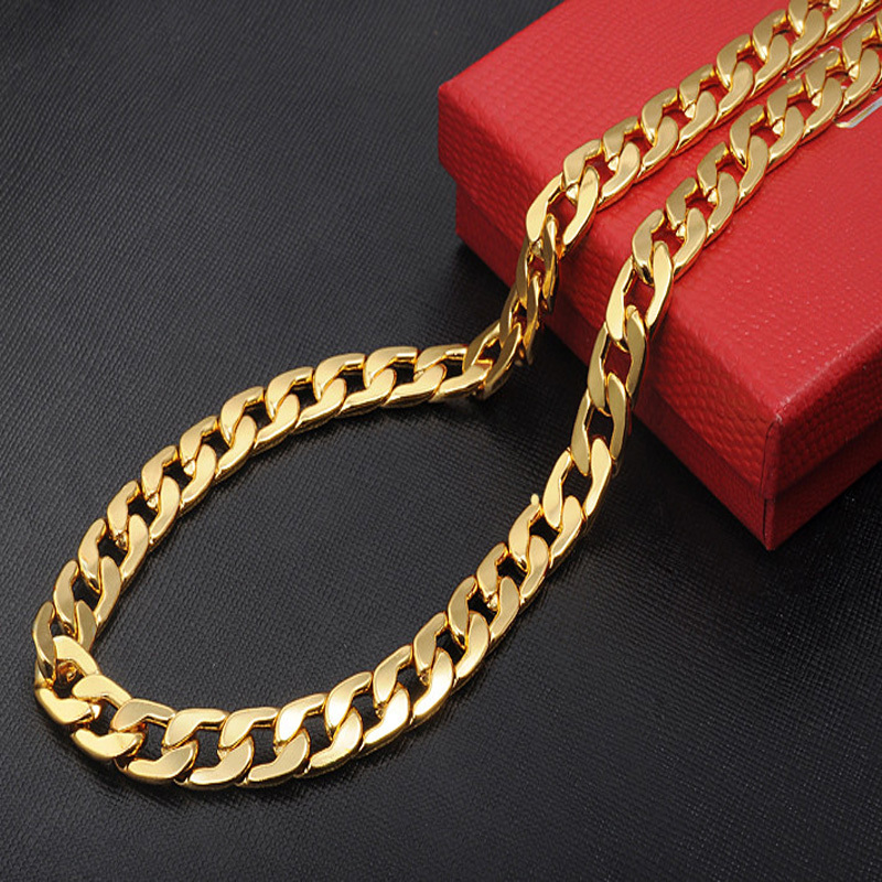 Chunky link Necklace gold chain for men 5PCS/lot wholesale fine jewelry 9mm herringbone snake chain statement necklaces(China (Mainland))