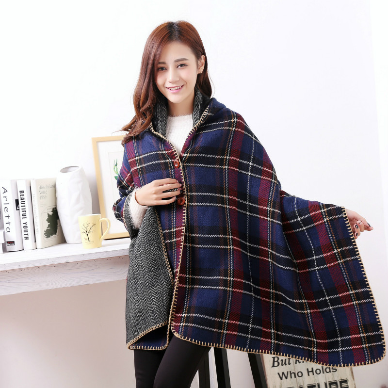 Winter Wool Scarf Buckle Plaid Poncho Hooded Cap Luxury Brand Femme Blanket Wraps Women's Jacquard Pashmina Shawls and Scarves(China (Mainland))