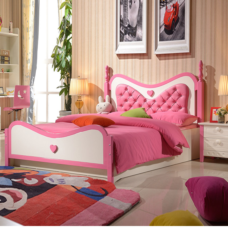 Children Girl Princess Bed 1.2 m Bed Childrens Furniture Suite Oak High Storage Box Single Wood Bed 1.5m<br><br>Aliexpress
