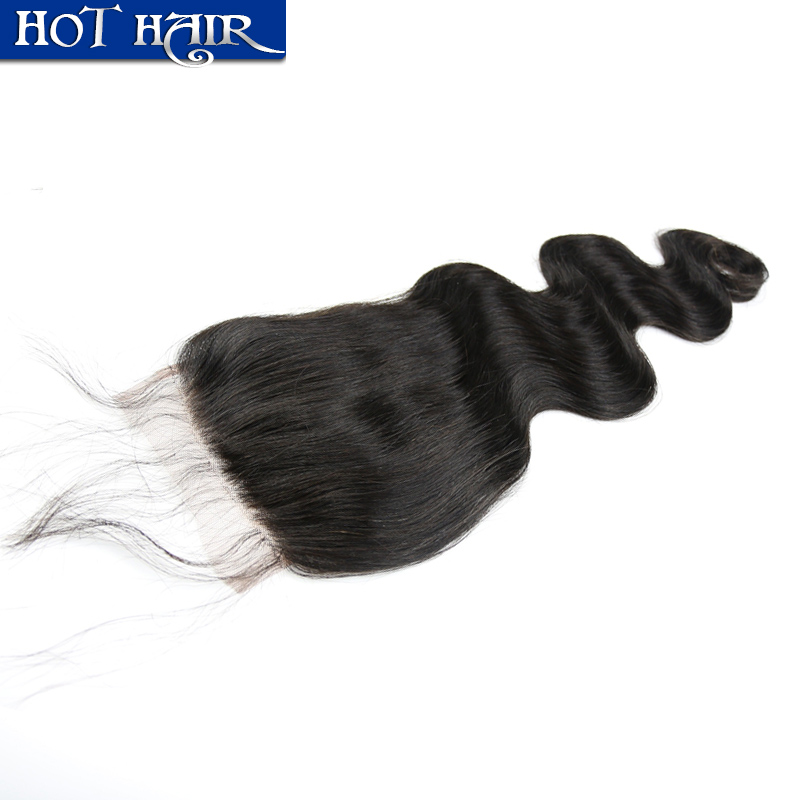 6A grade lace closure unprocessed brazilian human hair body wave closure bleached knots free part or middle three part closure <br><br>Aliexpress