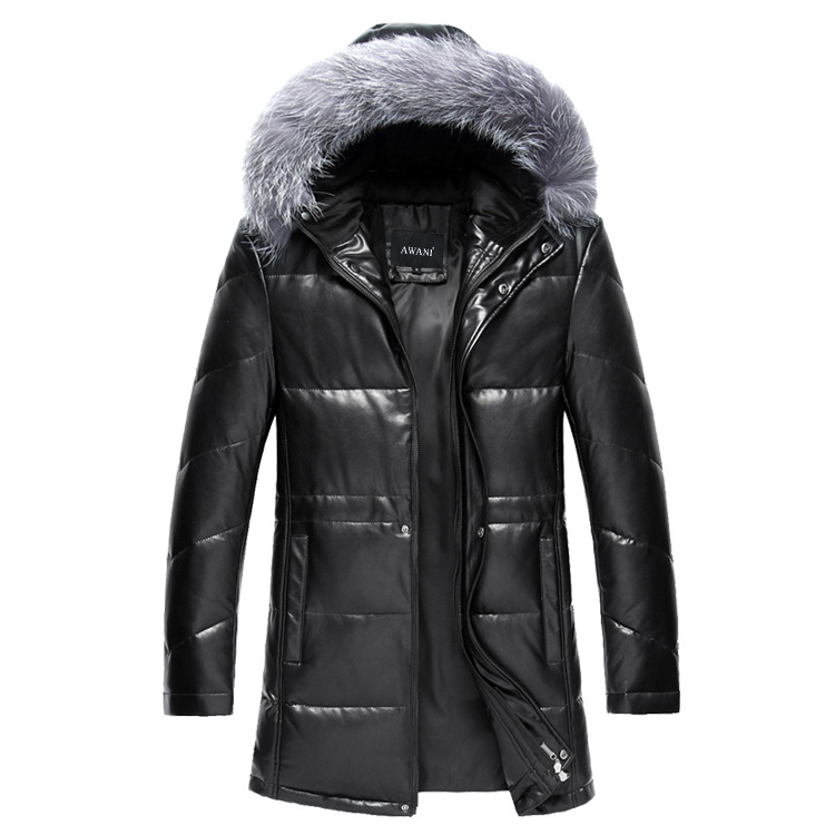 2015 New Winter Warm Outdoor Solid Men Withe Duck Down High Quality PU Leather Jackets Parkas Badger Fox Wool Down Coat 13M0367Одежда и ак�е��уары<br><br><br>Aliexpress