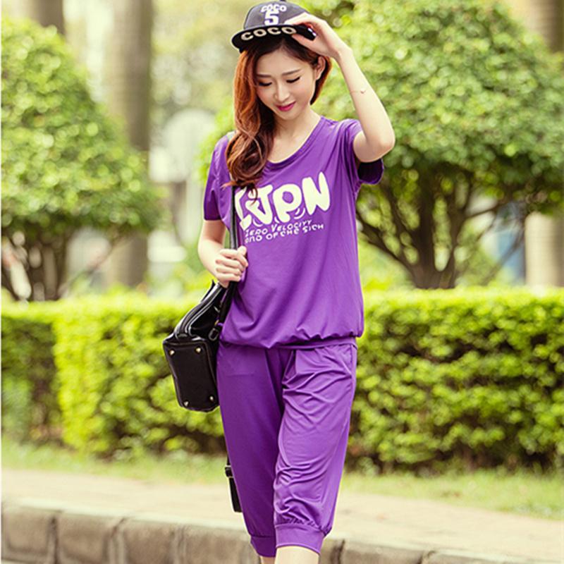The summer new fishion women's sportswear slim pants Ice silk Suit dress(China (Mainland))