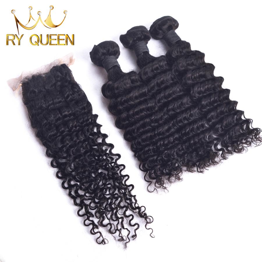 Brazilian Deep Wave Silk Base Closure Rosa Hair Products Brazilian Deep Curly Virgin Hair 4 Bundles 100% Human Hair Extensions<br><br>Aliexpress
