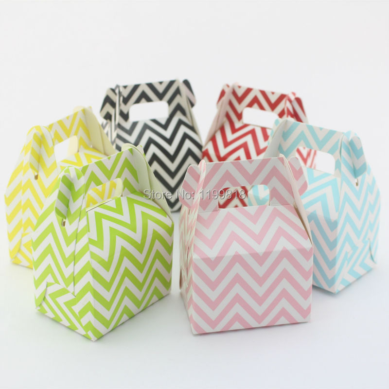 360pcs Baby Party Supplie Paper Popcorn Box Gable Style New Year Wedding Party Favor Chevron Gift Candy Box(China (Mainland))