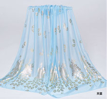 Free Shipping Newest design scarf long silk material wild spring new air conditioning hot towel emulation peacock gold pattern(China (Mainland))