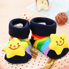 1 pair Infant Newborn Socks Winter 100% Cotton Sock Clothing Accessorie Non-slip Cute Star pattern Socks Suitable 0-18 Month