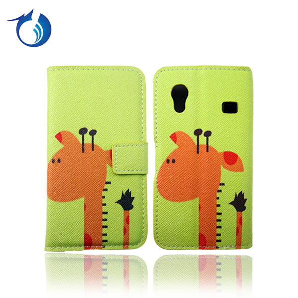 Cute Design PU Leather Case For Samsung Galaxy Ace S5830 Flower Design Flip Cover,30pcs/lot,HK Post Free Shipping