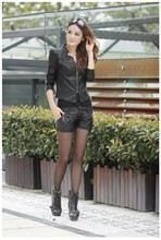 Hot! 2014 New Slim Short pu leather women short section of small leather motorcycle jacket leather jacket leather woman