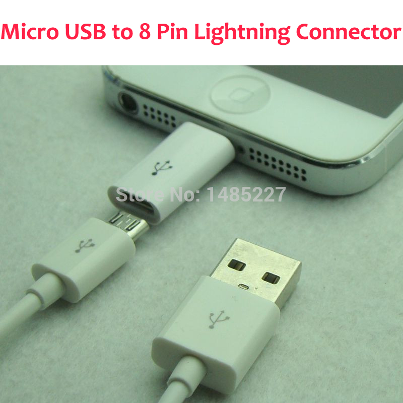 1PC Retail Android Adapter head Micro USB to Lighting 8 Pin Connector Adapter Converter USB Data Sync Charging Cable For ios9(China (Mainland))