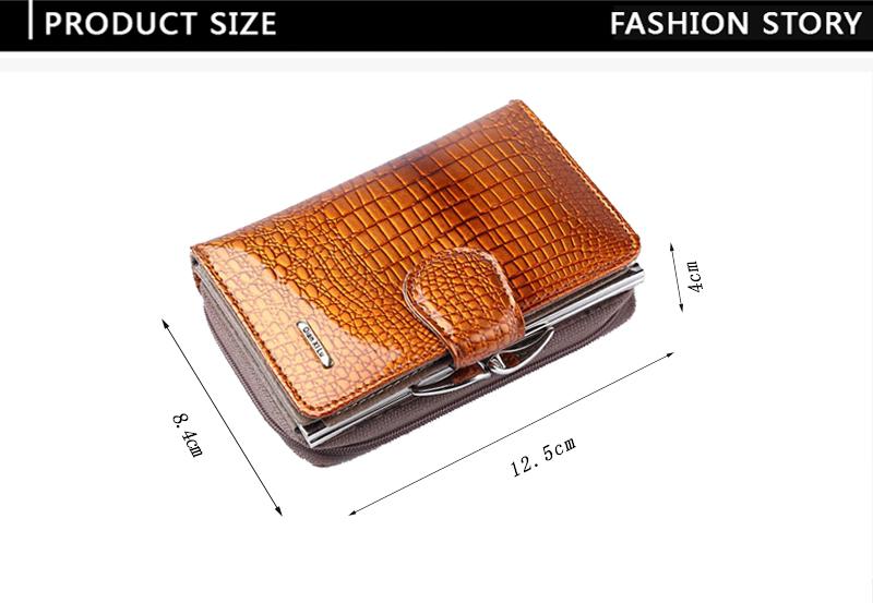 HTB1IhNoQVXXXXbuXVXXq6xXFXXX5 - Fashion Real Patent Leather Women Short Wallets Small Wallet Coin Pocket Credit Card Wallet Female Purses Money Clip Gold color