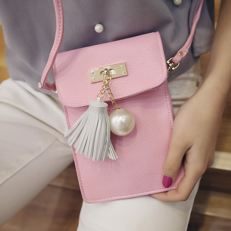 new fashion female pearl tassel phone package PU Shoulder bag Messenger bag women lovely small bag high quality(China (Mainland))