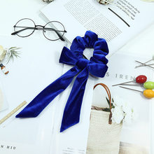 Oaoleer Hair Accessories Bow Streamers Hair Ring Fashion Velvet Hairbands Girl Hair Bands Scrunchies Ponytail Tie Solid Headwear()