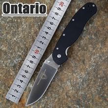 2015 HOT Ontario RAT modelo 1 outdoor adventure y formación EDC del bolsillo plegable del cuchillo AUS-8 hoja negro G10 Handle envío gratis