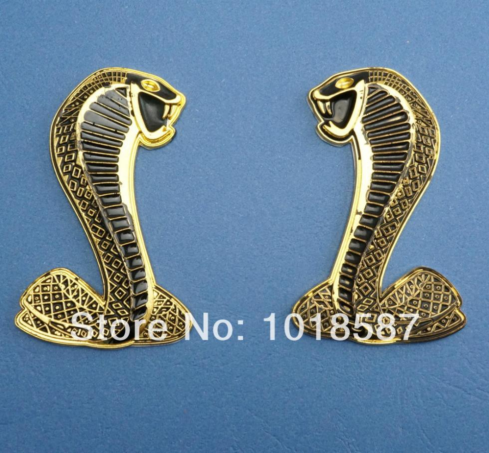 1 PAIR CAR STICKER Metal for Ford Mustang Cobra Snake Car Badge Emblem(China (Mainland))