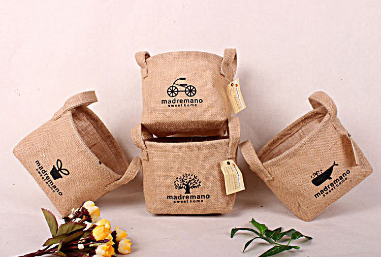 1pcs new small jute storage basket bag home organizor basket jute bag gift home decoration in Home decoration with jute