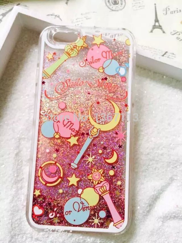 Cartoon Flower Sailor Moon Pretty Girl Glitter Star Flowing Water Liquid Case For iPhone 5 5G 5S Transparent Clear Cover