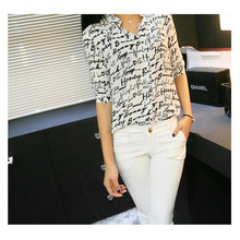 New Arrival Summer Style Printed Three Quarter Sleeve Shirt Chiffon Blouse Casual Camisa Free Shipping