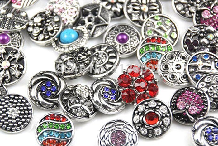 Hot wholesale 10pcs/lot High quality Mix Many styles 18mm Metal Snap Button Charm Rhinestone Styles Button Ginger Snaps Jewelry(China (Mainland))