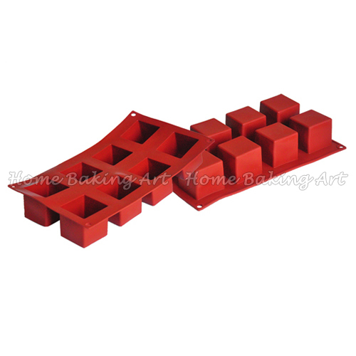 8 Cube silicone bakeware and baking mould classical soap mould cake pan mold square baking dish free shipping(China (Mainland))