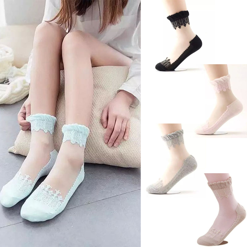 New Womens Ankle Socks Elastic Ultrathin Transparent Beautiful Crystal Lace Sock(China (Mainland))