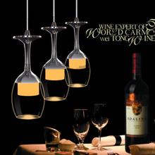 110V 220V suspension 6 lights 3 heads dinning room wine glass wine drinking cup 3 light dinning room LED pendant light(China (Mainland))