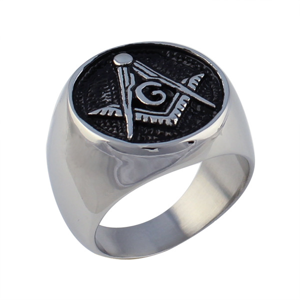Vintage Style Silver Personality Stainless Steel Titanium Religion Finger Rings Man & Women Party Masonic Symbol Jewelry Gift(China (Mainland))