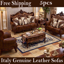 5pcs living room sofa set italian genuine leather European style luxury furniture with coffee table Side table wood carving sofa(China (Mainland))