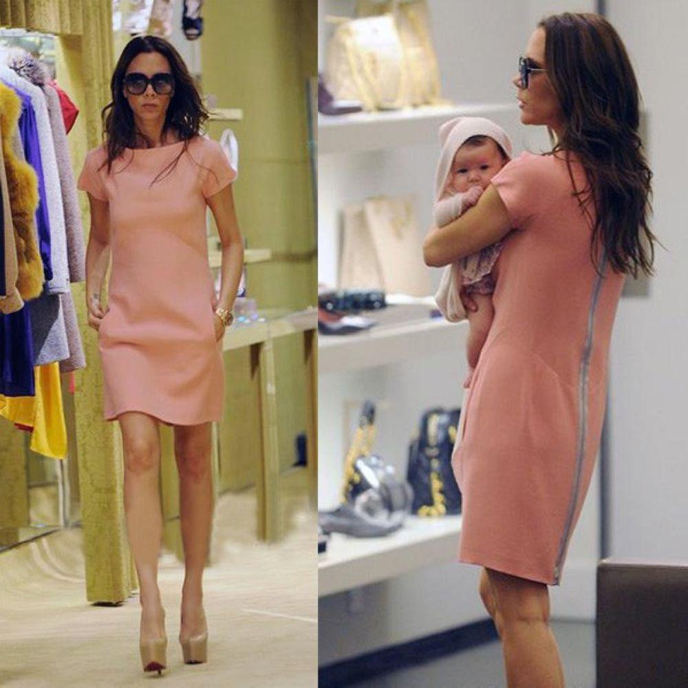 Free shipping European Style Womens Short Sleeve Casual Dress Victoria Beckham Style Pink Slim Back Zipper DressОдежда и ак�е��уары<br><br><br>Aliexpress