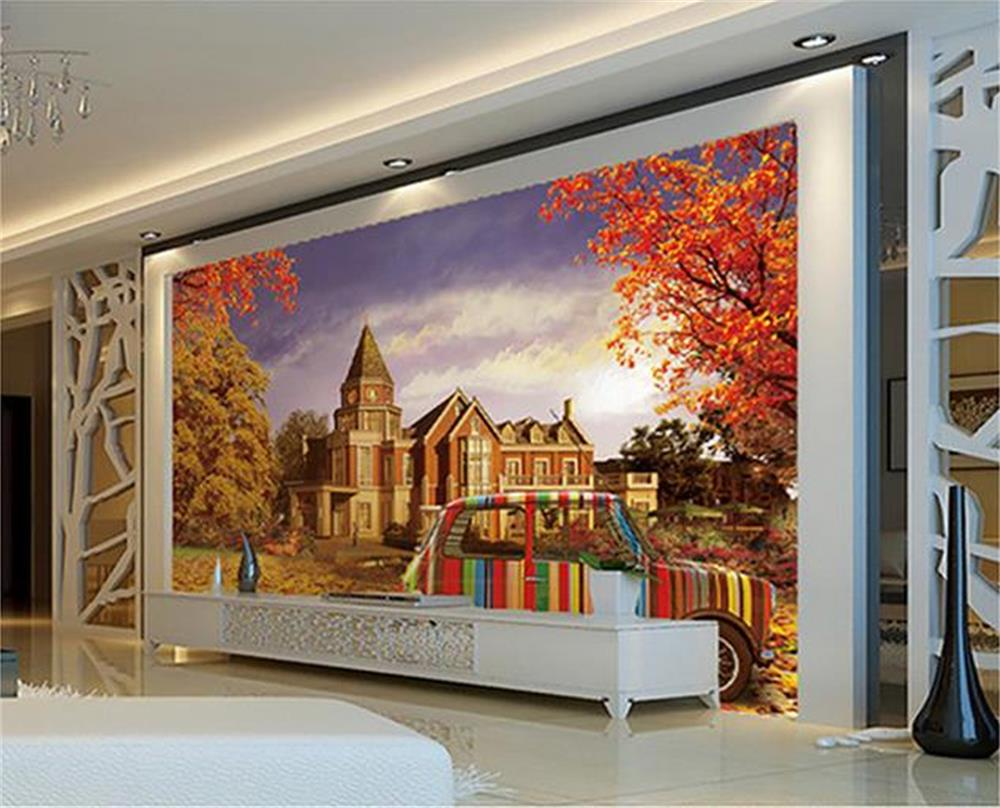 3d wallpaper custom photo hd mural castle maple leaf color for Custom photo mural