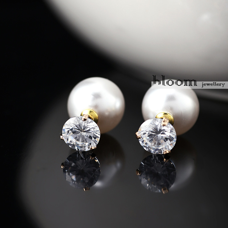 High End Pearl 3A Zircon Earrings Jewelry Classic Elegant Fashion Pearl Classic Royal Accessory PayPal Accepted(China (Mainland))