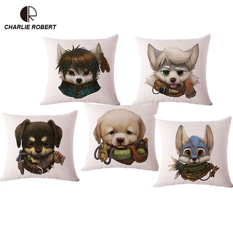 "Lovely Cartoon Animal Dog Cat Linen Decorative Pillows With no Filling 17""x17"" Super Quality Linen Home Decor Cushion Cojin 1136(China (Mainland))"