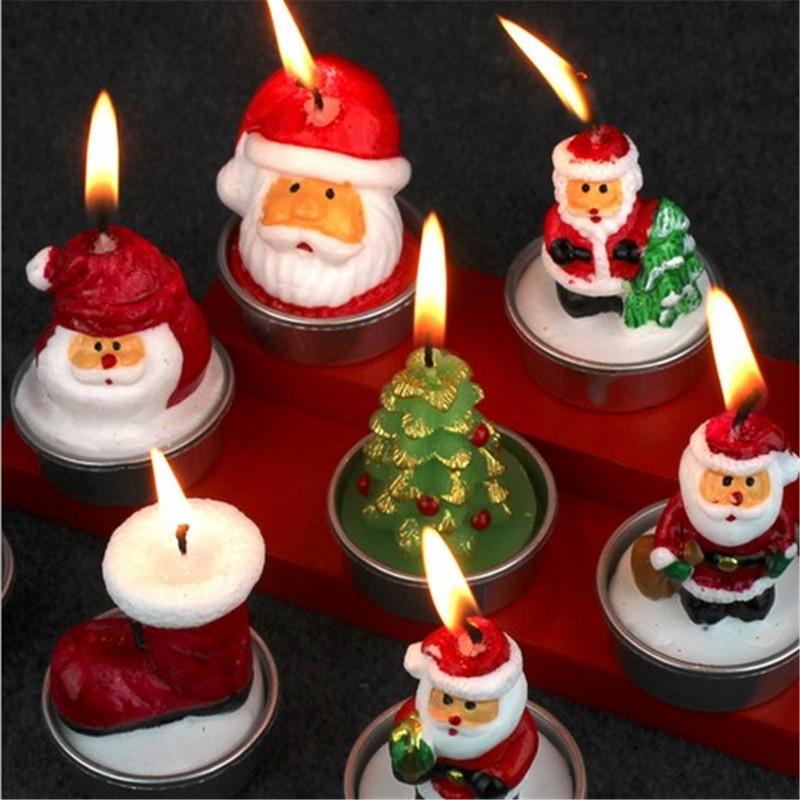12set/lot Christmas gift Candle Birthday Party Cake Decoration Xmas festival ornaments Holiday adornos de navidad para casa enfe(China (Mainland))