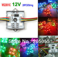 20pcs/string SPI programmable WS2801 4 LEDs Pixel Module String 4pcs 5050 RGB SMD Waterproof DC12V 256Gray square(China (Mainland))
