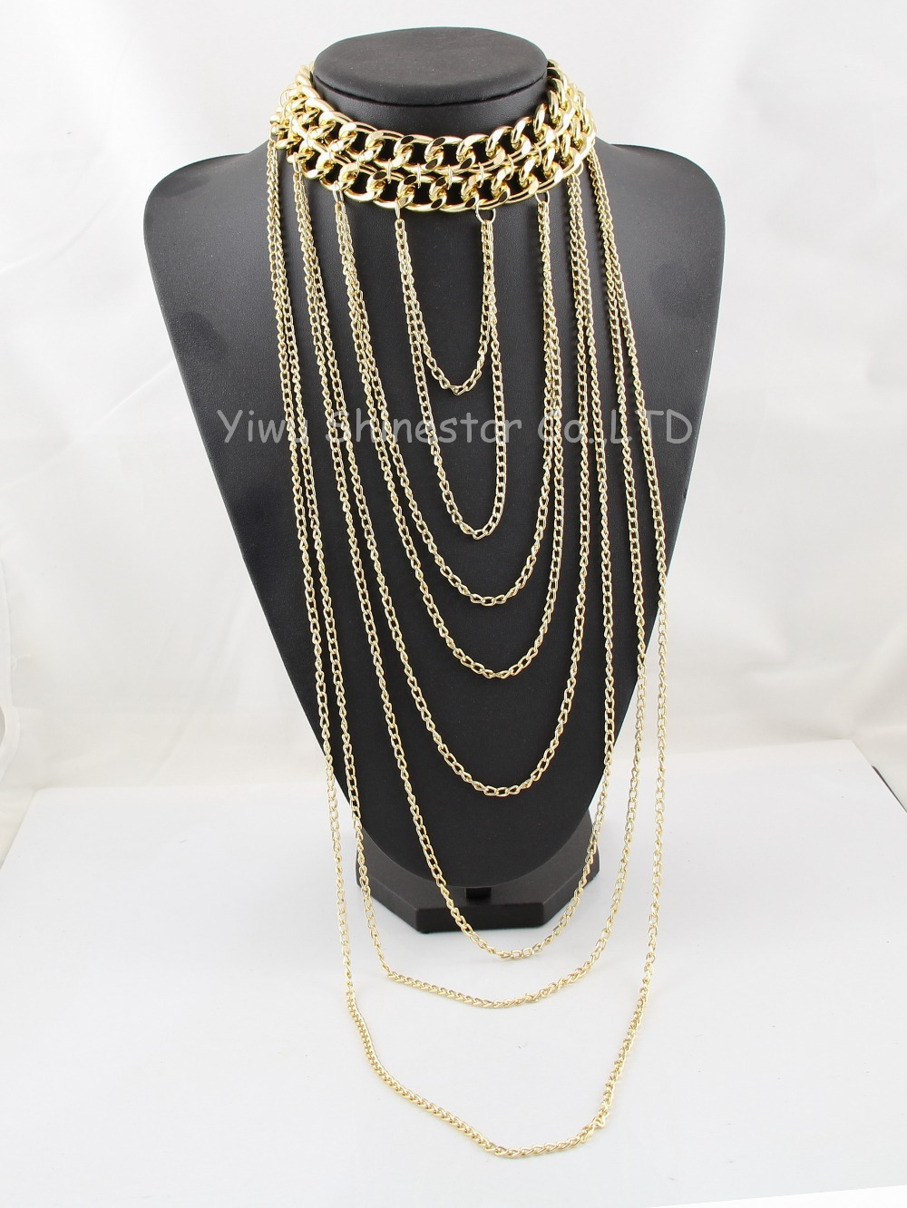 Statement Heavy Chunky Collar Gold Chain Necklace Multilayer Long Tassel Body Chain Necklace For Women Dress Jewelry Item,B89(China (Mainland))