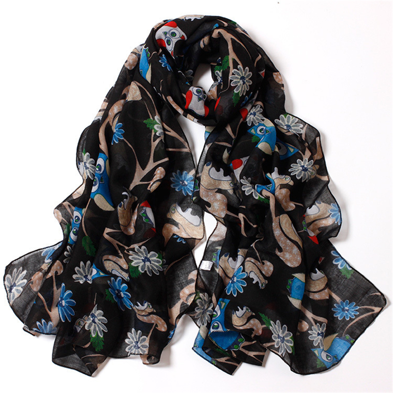 180*90cm/6 Color HOT 2016 Female Women Fashion Cotton Material Owl Scarf(China (Mainland))