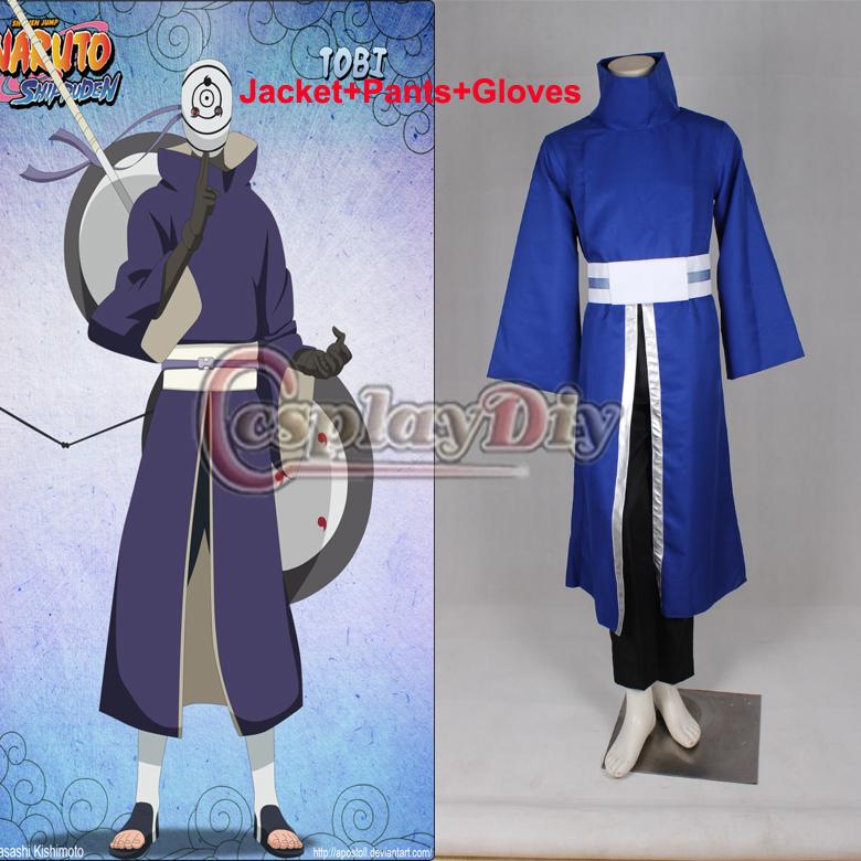 Promotion Custom Made Naruto Shippuden Akatsuki Ninja Tobi Obito Madara Uchiha Sasuke Purple Jacket Anime Cosplay Costume