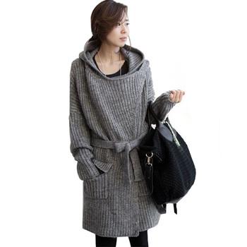 Верхняя одежда женщин пальто вязаный свитер длинный кардиган пальто полушерстяные ...