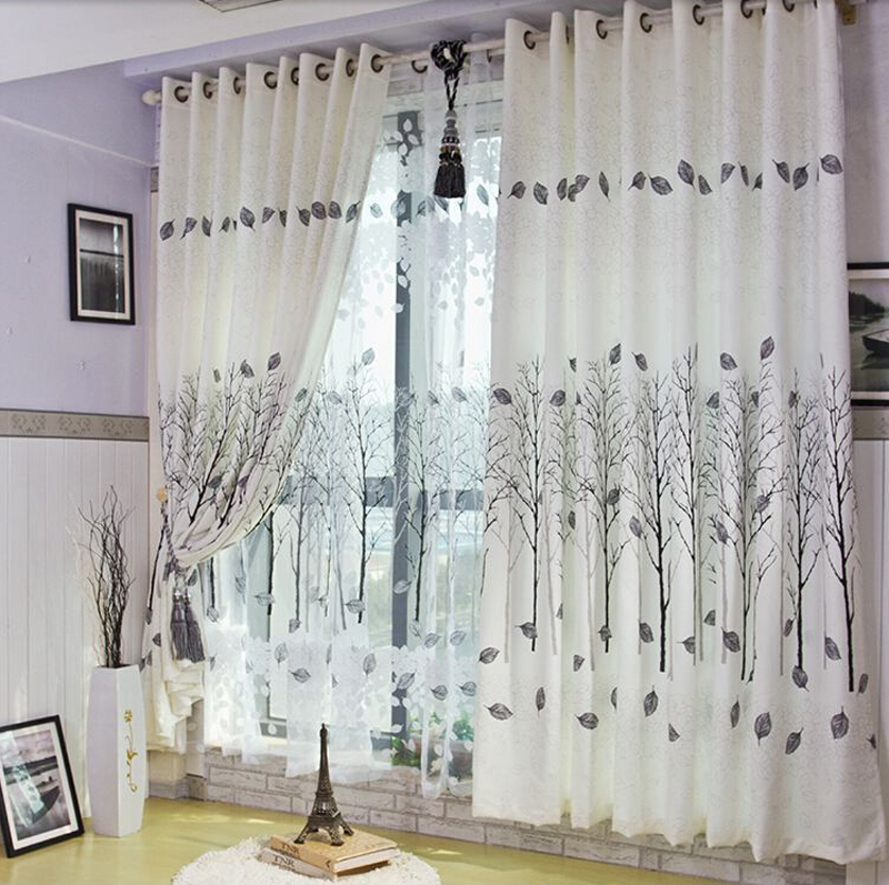 modern leaves & trees curtains yarn ready made tulle curtain flocked sheer curtain window curtain yarn living room ds032 #20(China (Mainland))